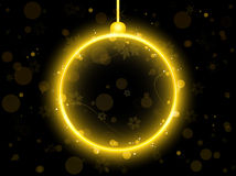 Golden Neon Christmas Ball Royalty Free Stock Photos