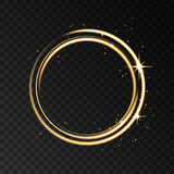 Golden neon circle light effect isolated on black transparent ba. Golden neon ring lights effect isolated on black transparent background. Shining gold magic stock illustration