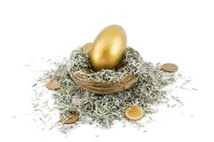 Golden Nest Egg Stock Photo