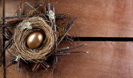 A golden nest egg Stock Photo