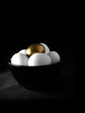 Golden Nest Egg. Concept image for pension fund or pension investments. Multiple white eggs with one highlighted gold egg against a dark background. Copy space Royalty Free Stock Photos
