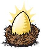 Golden Nest Egg. Graphic illustration of a large golden egg sitting in a nest Stock Photos