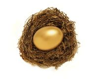 Golden nest egg representing retirement savings. Golden egg in a nest representing retirement savings or security Stock Photography