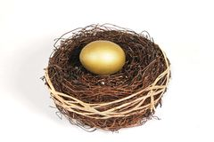 Golden nest egg on white Royalty Free Stock Photos