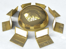 Golden Network. 3D illustration of golden pc laptops in network around a golden sphere, metaphor for information sharing Royalty Free Stock Photos