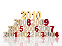Golden new 2010 on pyramid. 3d colour numbers new 2010 and previous years on pyramid Royalty Free Stock Image