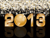 Golden New 2013 year card with globe Royalty Free Stock Photos