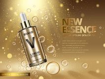 Golden new essence ad. Essence contained in golden droplet bottle with bubble elements golden background, 3d illustration
