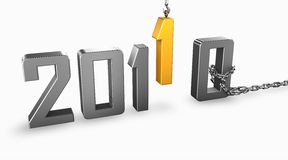 Golden new year 2011. 3d render image of 2011 new year replacing 2010 Royalty Free Stock Photography