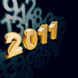 Golden New Year 2011 calender. Golden 2011 new year with motion number as background Stock Images