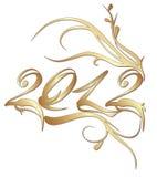 Golden New Year 2012. Iisolated on white background royalty free illustration