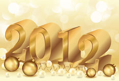 Golden New year 2012 with pearls Stock Photo