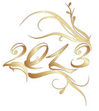 Golden new year 2013. New year 2013 isolated on white background Royalty Free Stock Photo
