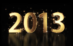 Golden New Year 2013. Beautiful golden number 2013 with shiny sparkles around Royalty Free Stock Photo