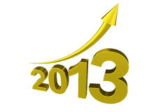 Golden new year 2013 with arrow. Isolated render with white background Stock Images