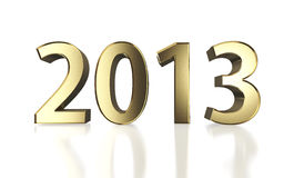 Golden New Year 2013 on white. Golden year 2013 with clipping path Royalty Free Illustration
