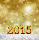 Golden new year 2015  backgound . Golden 2015 background and  snowflakes. Golden new year  backgound and stars Stock Images