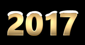 Golden 2017 New Year background. Black 2017 New Year background with golden figures. Vector illustration Royalty Free Stock Images