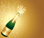 Golden new year background. 2014 Champagne bottle popping. Golden Happy new year background vector illustration