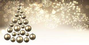 Golden background with Christmas tree. Golden New Year background with Christmas balls and fireworks. Vector illustration royalty free illustration