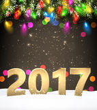 Golden 2017 New Year background. Golden 2017 New Year background with Christmas lights. Vector illustration Royalty Free Stock Photography