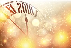 2018 New Year background with clock. Golden 2018 New Year background with clock. Vector illustration Royalty Free Stock Photo