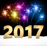 Golden 2017 New Year background. Stock Photography