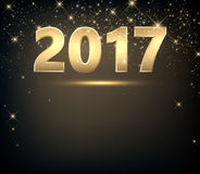 Golden 2017 New Year background. Golden 2017 New Year background with lights. Vector illustration Royalty Free Stock Images