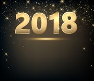 Golden 2018 New Year background. Golden 2018 New Year background with lights. Vector illustration Royalty Free Stock Photo