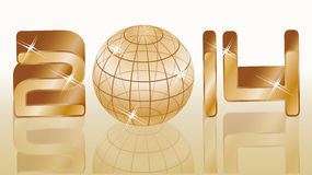 Golden new 2014 year background. Vector illustration Stock Photography