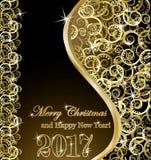 Golden new year background, vector. Illustration Stock Photo