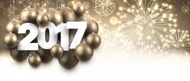 Golden 2017 New Year banner. Golden 2017 New Year banner with Christmas balls. Vector illustration Royalty Free Stock Photography