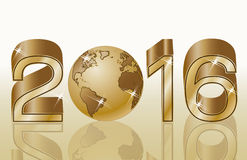 Golden new 2016 year banner, vector Stock Image