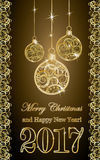Golden new year 2017 banner with xmas balls, vector. Illustration Stock Photography