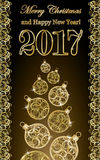 Golden new year 2017 banner with xmas tree. Golden new year 2017 banner with xmas balls and tree, vector illustration Stock Image