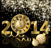 Golden New 2014 Year card. Vector illustration Stock Image
