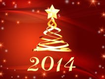 Golden new year 2014 and christmas tree with stars Royalty Free Stock Photo