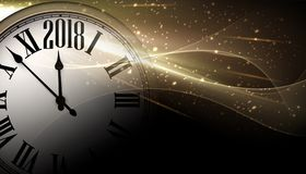 Golden 2018 New Year clock background. Stock Photos