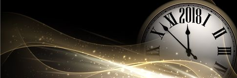 Golden 2018 New Year clock banner. Golden 2018 New Year shining banner with clock. Vector illustration Stock Image