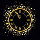 Golden New Year Clock. On a Glowing background with bright sparkle lights and shiny spots. Vector illustration royalty free illustration