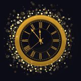 Golden New Year Clock on a Magic Glowing background. With bright sparkle lights and shiny spots. Vector illustration vector illustration