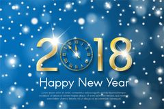 Golden New Year 2018 concept on blue snow blurry background. Vector greeting card illustration Royalty Free Stock Images