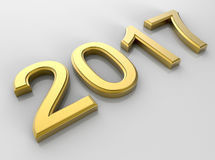 2017 - golden new year concept. 3D render illustration of the 2017 number textured with a golden material and positioned on a grey reflective background. The Royalty Free Stock Photo