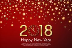Golden New Year 2018 concept on red blurry starfall background. Vector greeting card illustration with golden numbers and vintage clock Royalty Free Stock Image