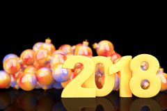 Golden 2018 new year figures with baubles in the back on black b. Ackground. 3d rendering Stock Photo