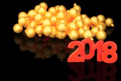 Golden 2018 new year figures with baubles in the back on black b. Ackground. 3d rendering Royalty Free Stock Photos