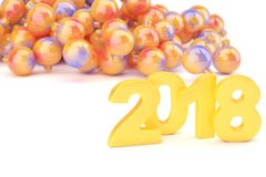 Golden 2018 new year figures with baubles in the back isolated o. N white background. 3d rendering Royalty Free Stock Photo