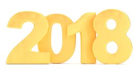 Golden 2018 new year figures isolated on white background. 3d rendering Royalty Free Stock Images