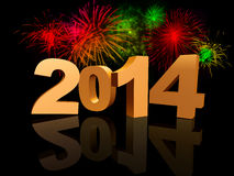 Golden new year 2014 with fireworks Royalty Free Stock Images