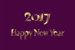 Golden New Year 2017 Greeting Card. Magic sparkle Vector gold glittering textured art. Illustration on purple back Stock Photos